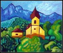 Ölmalerei, Grainau, Zugspitze, Malerei