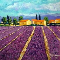 Sommer, Lavendel, Provence, Malerei