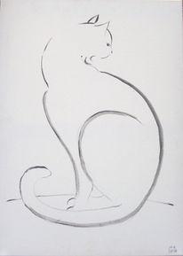 Katze, Zeichnung, Grafik, Schwarz weiß