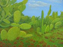 Ölmalerei, Blumen, Blüte, Landschaft