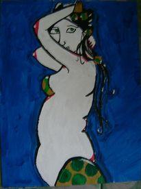 Blau, Frau, Malerei, Menschen