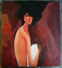 Haare, Schwarze frau, Dame, Malerei
