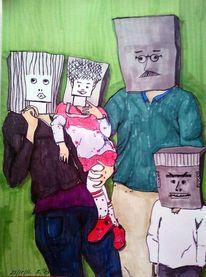 Familie, Papiertüte, Copic, Malerei