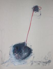 Abstrakt, Graue kugel, Roter strich, Malerei