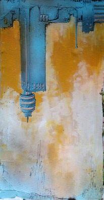 Graffiti, Henninger turm, Skyline frankfurt, Pappe