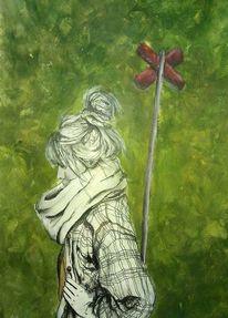 Jahreszeiten, Rot, Grün, Acrylmalerei