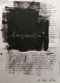 Schwarzer klecks, Schwarz weiß, Acrylmalerei, Schrift