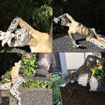 Schneeleopardin, Cougar, Katzenfrau, Grau