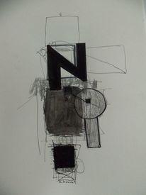 Schwarzweiß, Abstrakt, Landschaft, Mischtechnik