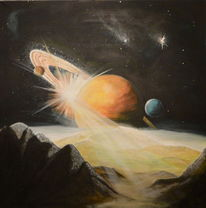 Universum, Farben, Acrylmalerei, Stern