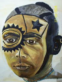 Portrait, Nuba, Kopf, Acrylmalerei