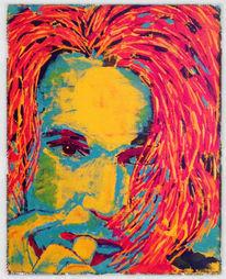 Spachteltechnik, Portrait, Acrylmalerei, Malerei