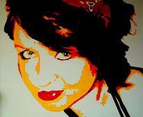 Frau, Portrait, Acrylmalerei, Popart