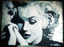 Malerei, Frau, Spachteltechnik, Popart