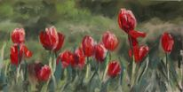 Frühling, Blumen, Grün, Rot