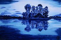 Blau, Lasurtechnik, Norwegen, Ölmalerei