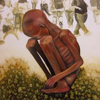 Tuschmalerei, Groß, Armut, Hunger