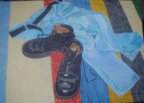 Acrylmalerei, Jeans, Schuhe, Malerei