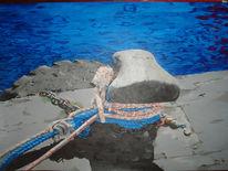 Wasser, Acrylmalerei, Poller, Urlaub