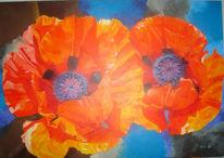 Mohn, Acrylmalerei, Malerei