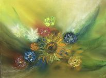 Blumen, Ölmalerei, Malerei, Stillleben