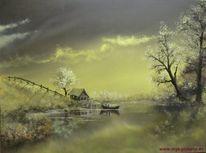 Anglerhütte, Dämmerung, See, Ölmalerei