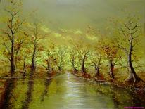 Ölmalerei, Herbst, Malerei, Main