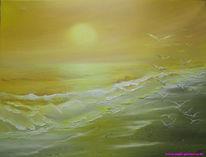 Meeresstrand, Sonnenuntergang, Ölmalerei, Zeichnungen
