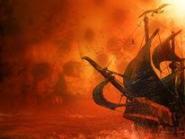 Insel, Pirat, Seeschlacht, Digitale kunst