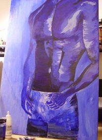 Blau, Akt, Spachtel, Acrylmalerei