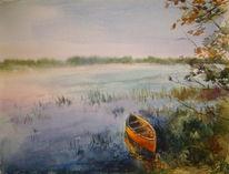 Aquarellmalerei, Leben, Fluss, Russland