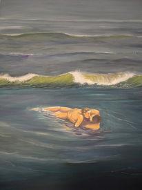 Nordsee, Welle, Liebespaar, Acrylmalerei