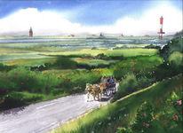 Kutsche, Insel, Wangerooge, Malerei