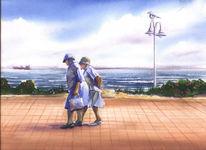 Insel, Alt, Strandpromenade, Dame