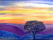 Baum, Weite, Abend, Zeichnungen