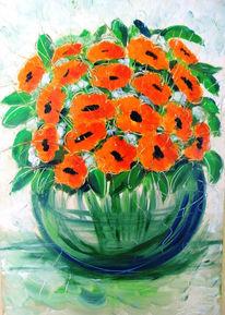 Mohn, Blumen, Vase, Malerei