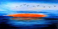 Sonnenuntergang, Vogel, Blau, Meer