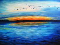 Blau, Sonnenuntergang, Meer, Vogel