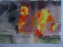 Ineos, Explosion, Worringen, Aquarell