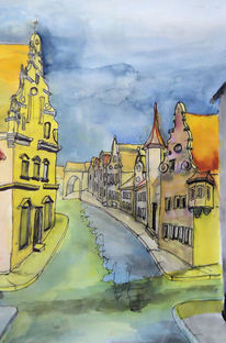 Aquarellmalerei, Donau, Dillingen, Bayer