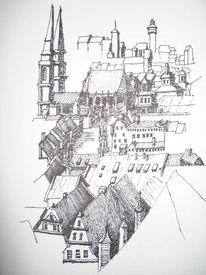 Burg, Zeichnung, Nürnberg, Altstadt
