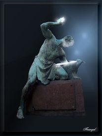 Mann, Bronze, Statue, Eisen
