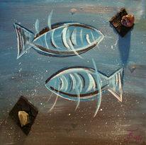 Stein, Fische, Wasser, Blau