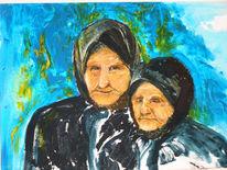 Acrylmalerei, Menschen, Gesicht, Türkis