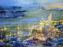 Blau, Wasser, Acrylmalerei, Malerei