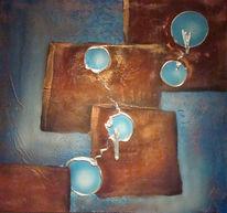Türkis, Acrylmalerei, Braun, Airbrush