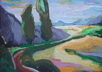 Natur, Acrylmalerei, Grün, Kirschbaum
