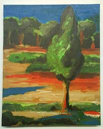 Landschaft, Farben, Morgen, Acrylmalerei