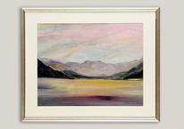 Aquarellmalerei, Ferne, Spiegelung, Landschaft