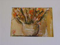Spachteltechnik, Acrylmalerei, Blumen, Malen